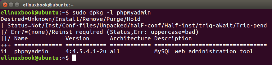 Checking if is PHPMyAdmin installed or not by dpkg command