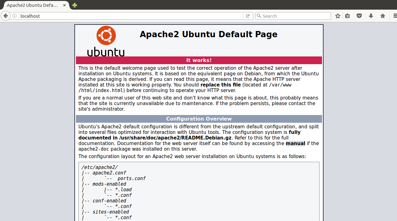 Accessing Apache Default Page