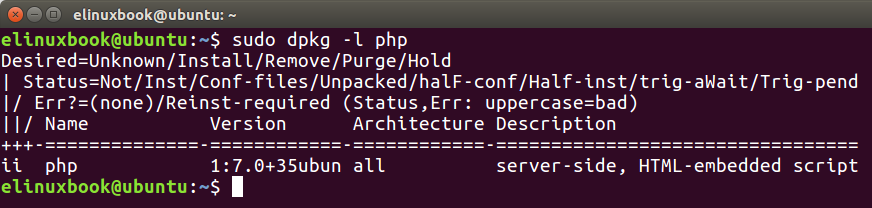 Checking if is php installed or not by dpkg command