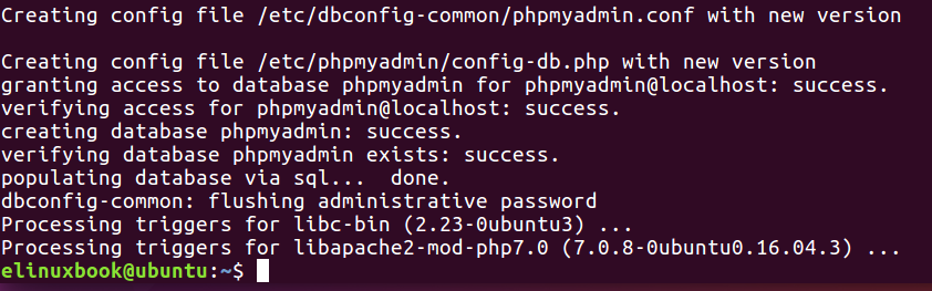 PHPMyAdmin Installed Successfully