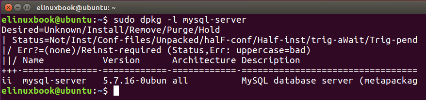 Checking if is MySQL Server installed or not by dpkg command