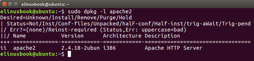 Checking if is apache2 installed or not by dpkg command