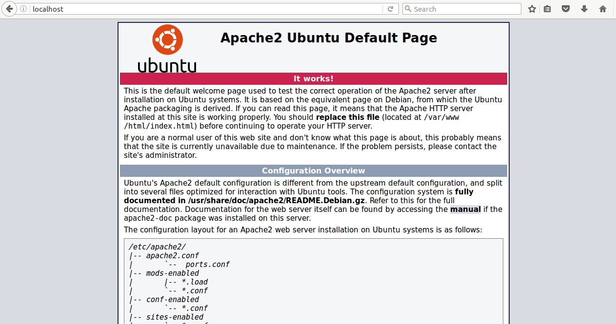 Open Apache Webserver Default Page