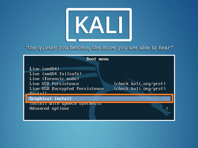Start Kali Linux Installation
