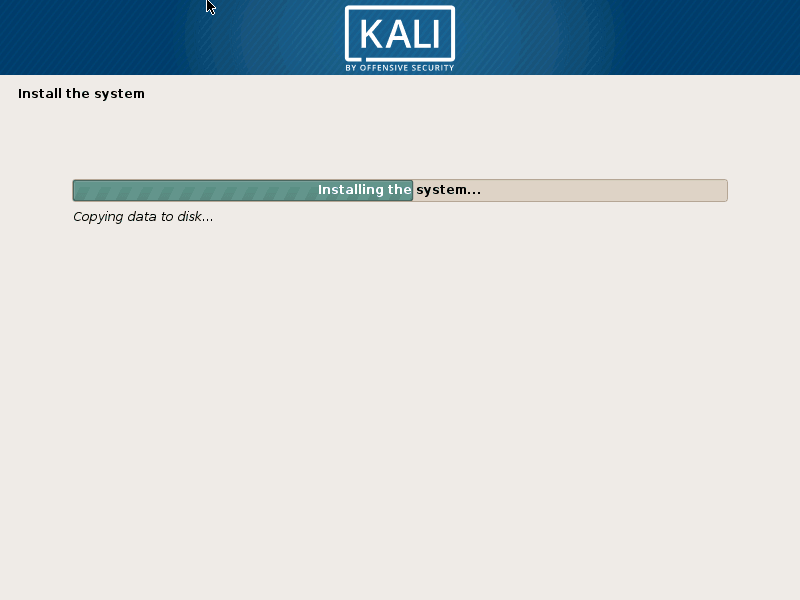 Kali Linux Installation is on Progress