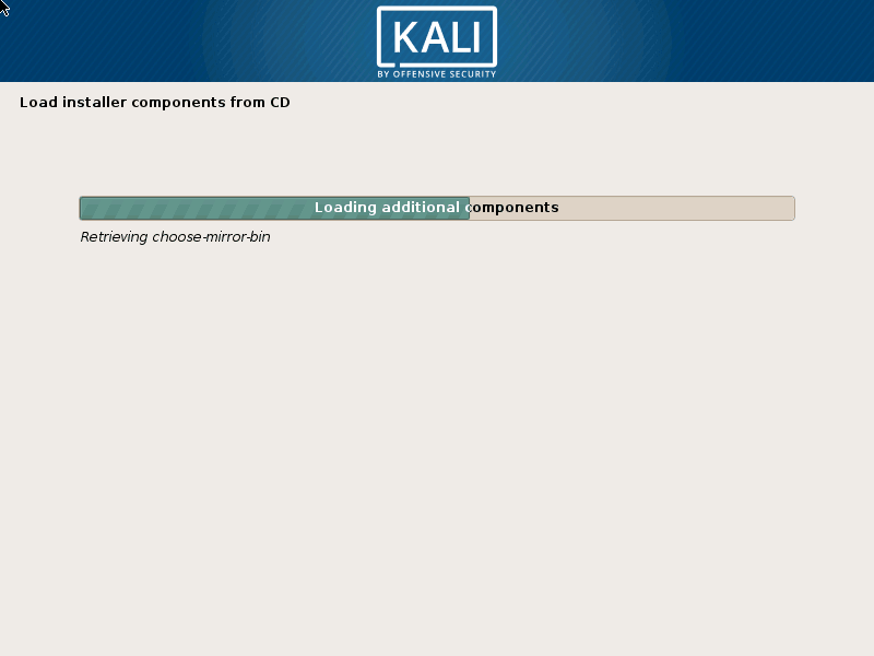 Kali Linux Installation on Progress