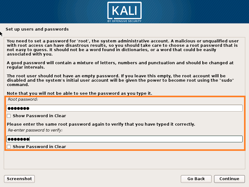 Set root Password for Kali Linux