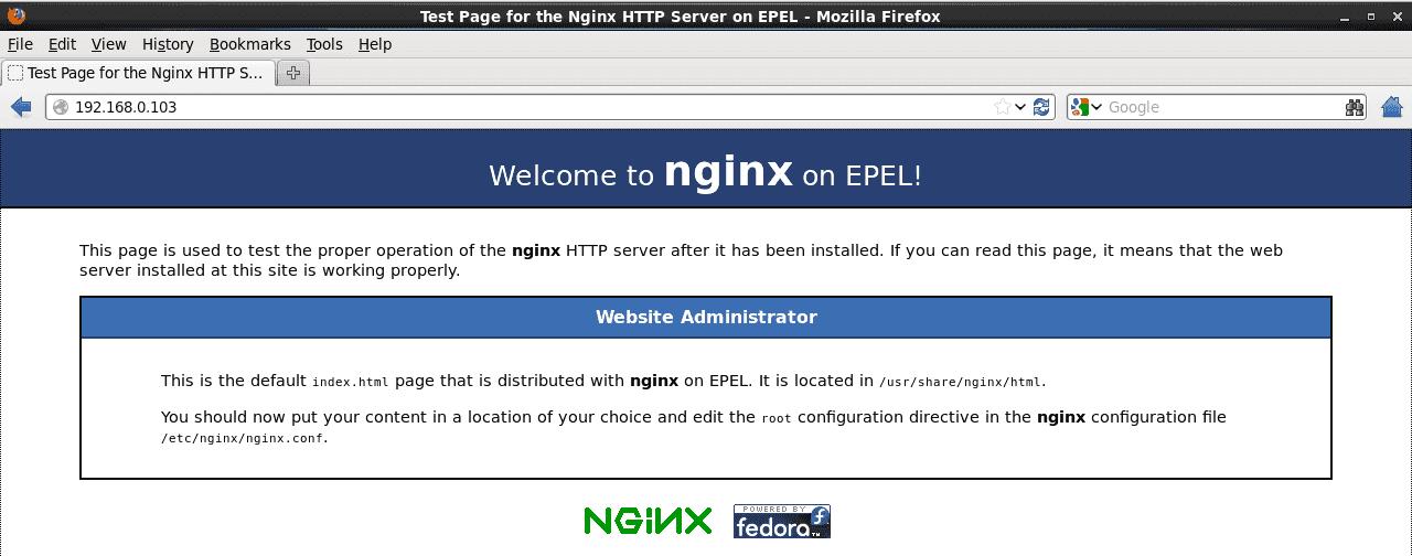 NGINX SERVER DEFAULT HOME PAGE