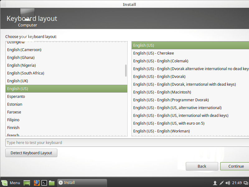 CONFIGURE KEYBOARD SETTING