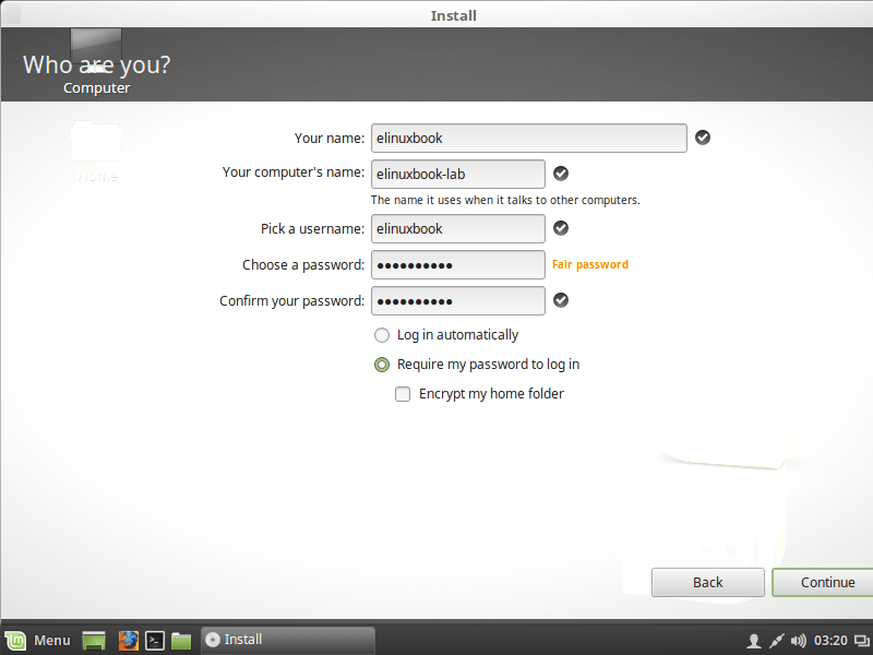 CREATE A USER FOR LINUX MINT 18